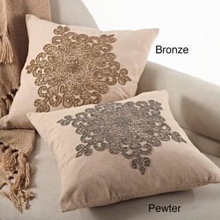 Snowflake Design 18-inch Feather Filled Beaded Pillow (Option: Gold/Tan)