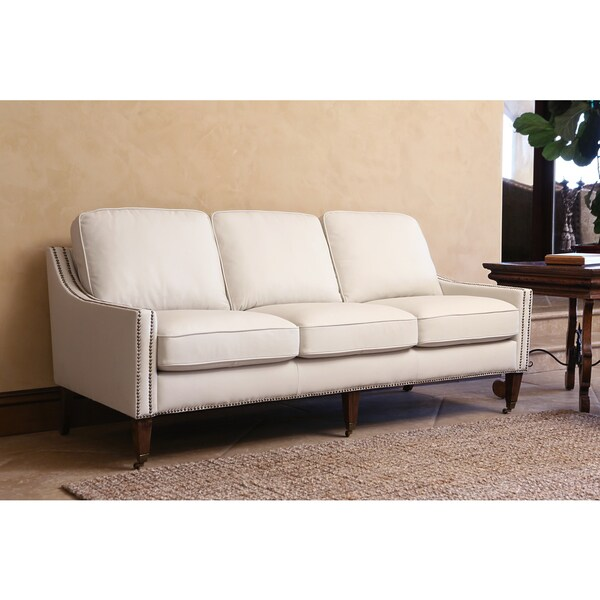 abbyson monica pedersen ivory bonded leather nailhead sofa - Nailhead Sofa