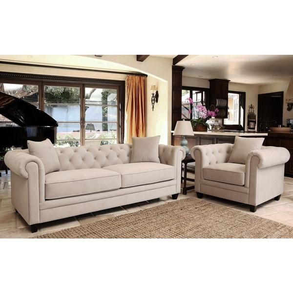 Shop Abbyson Fulton Beige Velvet 2 Piece Sofa And Armchair