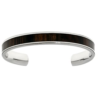 Stainless Steel Cuff Bangle Bracelet with Wood Accent