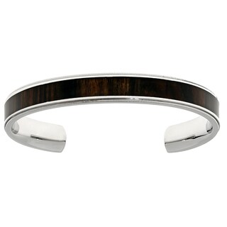Stainless Steel Cuff Bangle Bracelet with Wood Accent (2 options available)