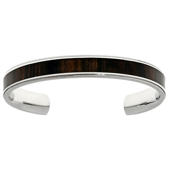 Stainless Steel Cuff Bangle Bracelet with Wood Accent. Opens flyout.