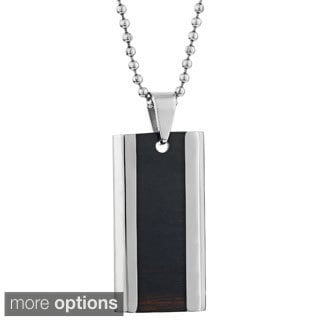 Stainless Steel Tag Necklace with Wooden Inlay