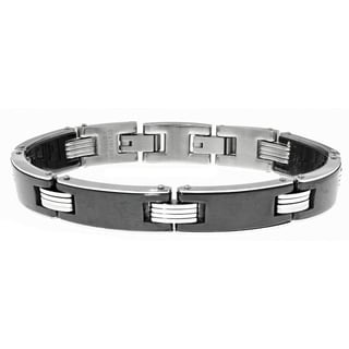 Stainless Steel Black Ceramic Link Bracelet