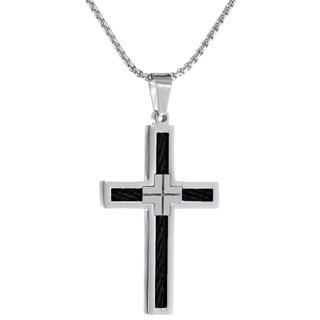 Stainless Steel Cross Pendant with Black Cable Inlay