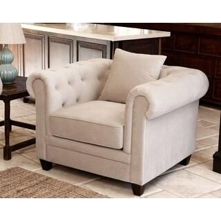 Abbyson Fulton Beige Velvet Fabric Tufted Armchair