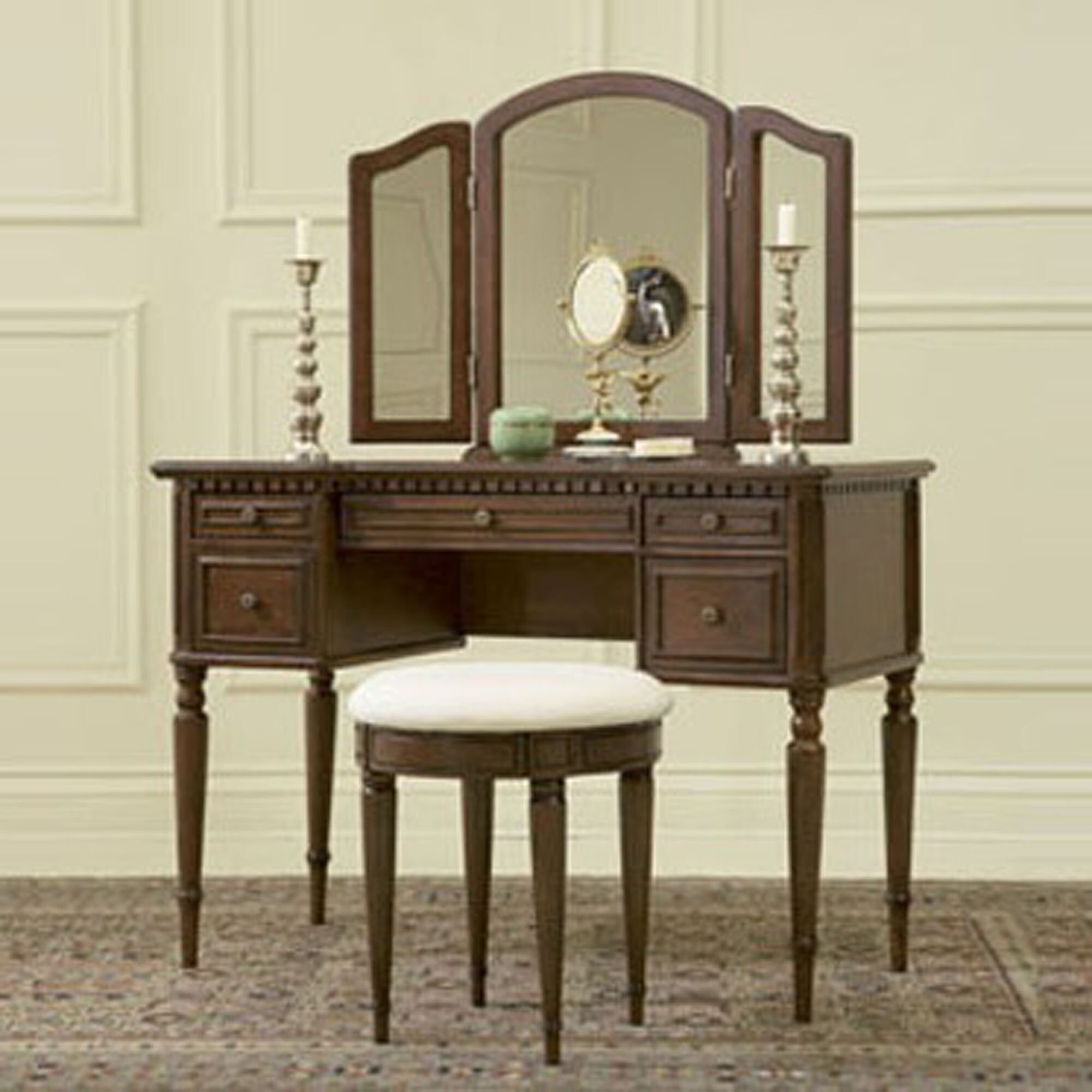 Powell Furniture Bordeaux Warm Cherry Vanity, Mirror and ...