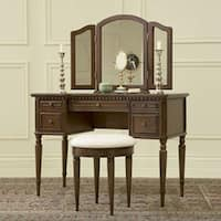 Powell Bordeaux Warm Cherry Vanity, Mirror and Bench