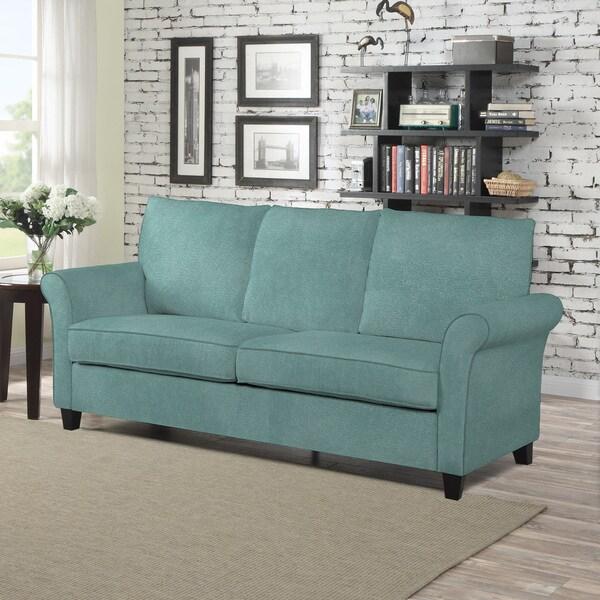 Porch & Den Pope Street Turquoise Velvet SoFast Sofa