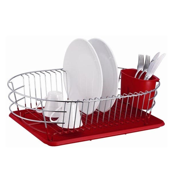 Shop Extra Large Metal Wire Dish Rack with Drain Board ...