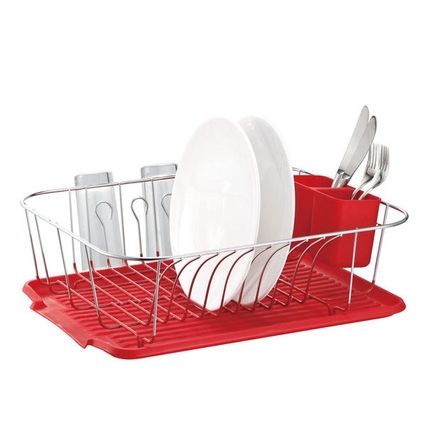 shop large metal wire dish rack with drain board free shipping on orders over 45 overstock. Black Bedroom Furniture Sets. Home Design Ideas