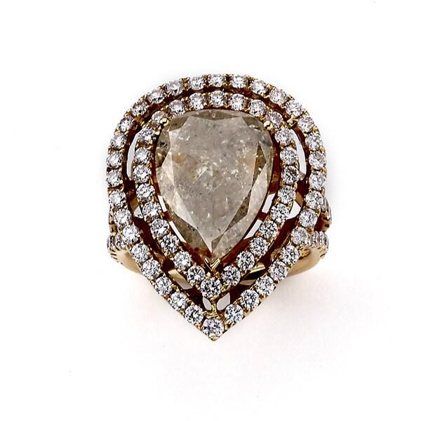Neda Behnam 18k Rose Gold 6 7/8ct TDW Pink/ White Pear Shape Diamond Ring (G-H, VS1-VS2)
