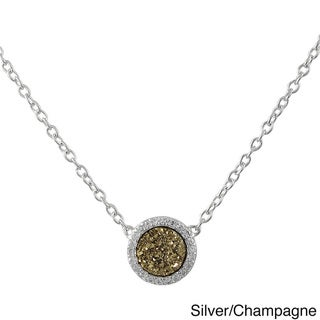 Luxiro Sterling Silver Druzy Quartz and White Cubic Zirconia Pendant Necklace