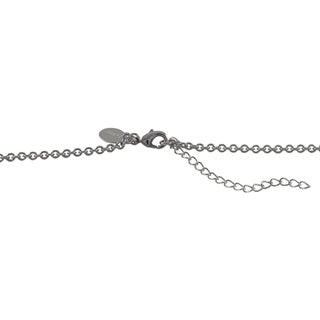 Luxiro Sterling Silver Druzy Quartz and White Cubic Zirconia Pendant Necklace