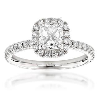 Luxurman 14k Gold 2ct TDW Cushion-cut Diamond Halo Engagement Ring|https://ak1.ostkcdn.com/images/products/9415460/P16602866.jpg?impolicy=medium