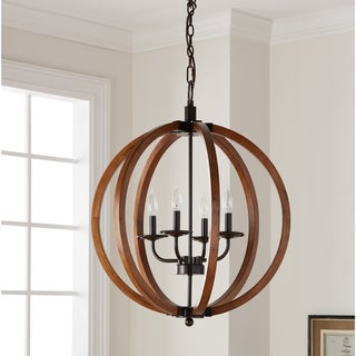 Vineyard Distressed Mahogany and Bronze 4-light Orb Chandelier