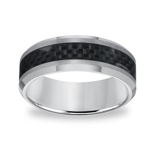 Men's Tungsten Carbide Carbon Fiber Inlay Comfort Fit Band (More options available)