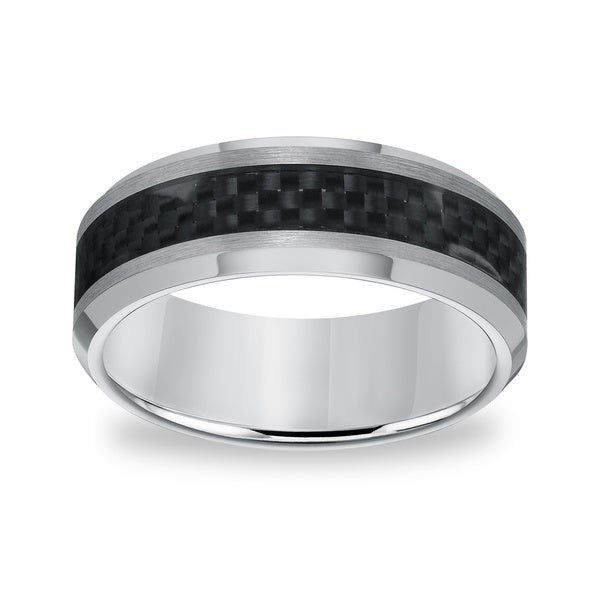 Men's Tungsten Carbide Carbon Fiber Inlay Comfort Fit Band