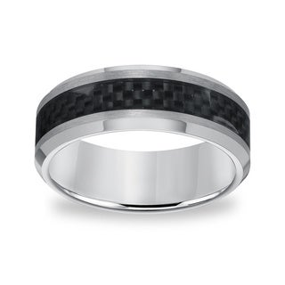 Men's Tungsten Carbide Carbon Fiber Inlay Comfort Fit Band