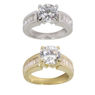 NEXTE Jewelry Goldtone or Silvertone Cubic Zirconia Round Solitaire Ring
