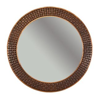 Premier Copper Products 34-inch Hand Hammered Round Copper Mirror with Decorative Braid Design