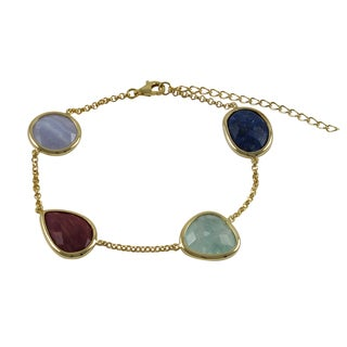 Luxiro Gold over Sterling Silver Multi-color Gemstone Bracelet