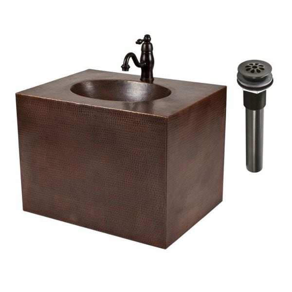 Shop premier copper products 24 inch hand hammered copper wall mount vanity and faucet combo for Bathroom vanities and sinks combos
