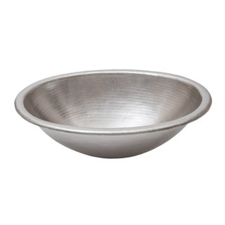 Premier Copper Products 19 Inch Oval Self Rimming Electroless Nickel  Hammered Copper Bathroom Sink