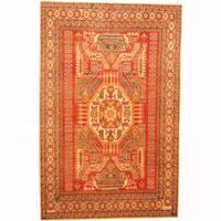 Handmade Herat Oriental Afghan Kazak Red/ Beige Wool Rug (Afghanistan) - 6'7 x 10'2