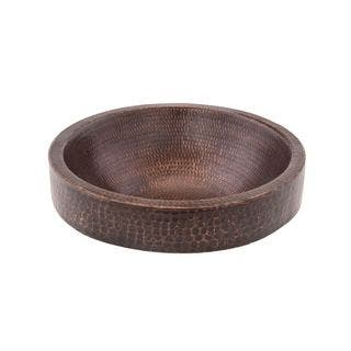 Premier Copper Products Small Round Skirted Vessel Hammered Copper Sink|https://ak1.ostkcdn.com/images/products/9415715/P16603101.jpg?impolicy=medium