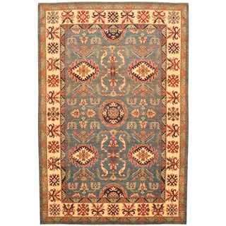 Herat Oriental Afghan Hand-knotted Kazak Blue/ Ivory Wool Rug (5'9 x 8'7)