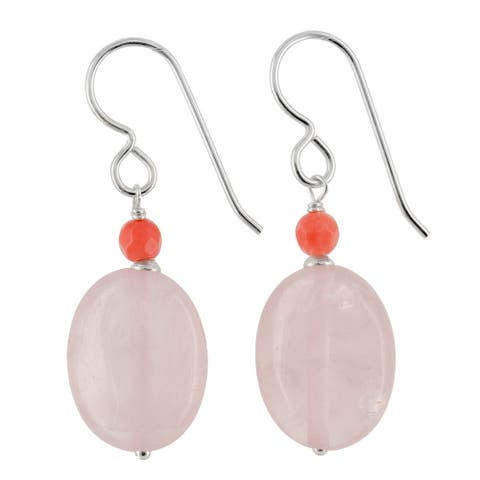 Rose Quartz and Bamboo Coral Silver Handmade Earrings