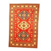 Handmade Herat Oriental Afghan Tribal Kazak Red/ Beige Wool Rug (Afghanistan) - 5'10 x 8'10