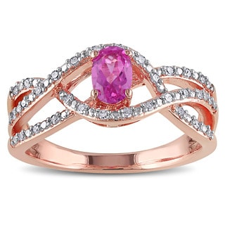 Miadora Rose Plated Silver Created Pink Sapphire and 1/6ct TDW Diamond Ring (H-I, I2-I3)
