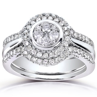 Annello by Kobelli 10k White Gold 1/2ct TDW Diamond 3-piece Bridal Ring Set (H-I, I1-I2)