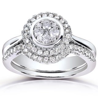 Annello by Kobelli 10k White Gold 3/8ct TDW Round-cut Diamond Bridal Rings Set (H-I, I1-I