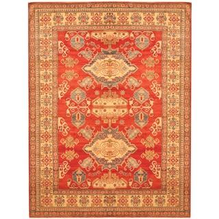 Herat Oriental Afghan Hand-knotted Kazak Red/ Beige Wool Rug (7'5 x 9'9)