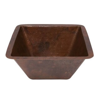 Premier Copper Products 15-inch Square Under Counter Hammered Copper Bathroom Sink