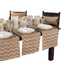 Beaded Design Burlap Table Runner