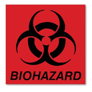 Rubbermaid Commercial Fluorescent Red 5-3/4 x 6 Biohazard Decal