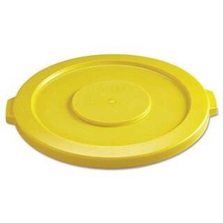 Rubbermaid Commercial Yellow Round Flat Top Lid for 32-gallon Round Brute Containers