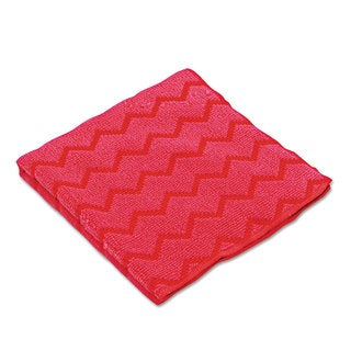 Rubbermaid Commercial Red 12 x 12 HYGEN Microfiber Cleaning Cloths (Pack of 12)