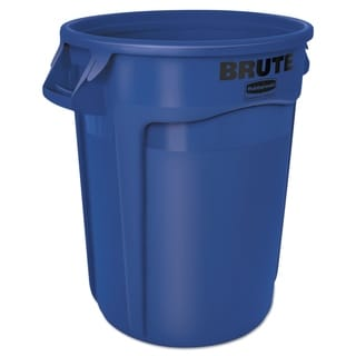 Rubbermaid Commercial 32-gallon Round Blue Plastic Brute Container