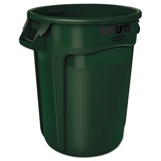 Rubbermaid Commercial 32-gallon Dark Green Plastic Round Brute Container