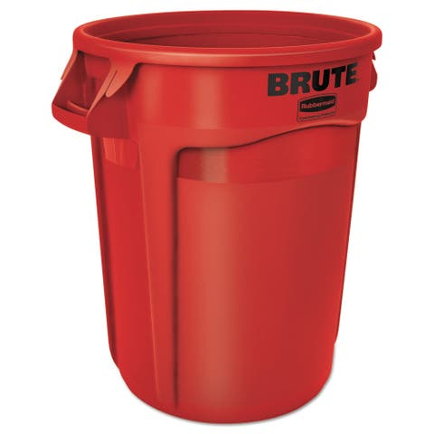 Rubbermaid Commercial 32-gal Red Plastic Round Brute Container