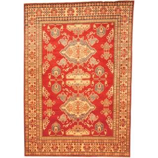 Herat Oriental Afghan Hand-knotted Kazak Red/ Beige Wool Rug (7'3 x 10'4)