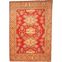 Handmade Herat Oriental Afghan Kazak Red/ Beige Wool Rug (Afghanistan) - 7'3 x 10'4