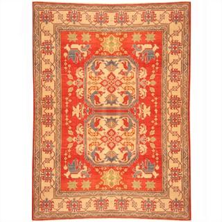 Herat Oriental Afghan Hand-knotted Kazak Red/ Beige Wool Rug (6'3 x 8'6)