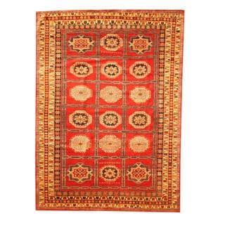 Herat Oriental Afghan Hand-knotted Tribal Kazak Red/ Navy Wool Rug (6'7 x 9'1)