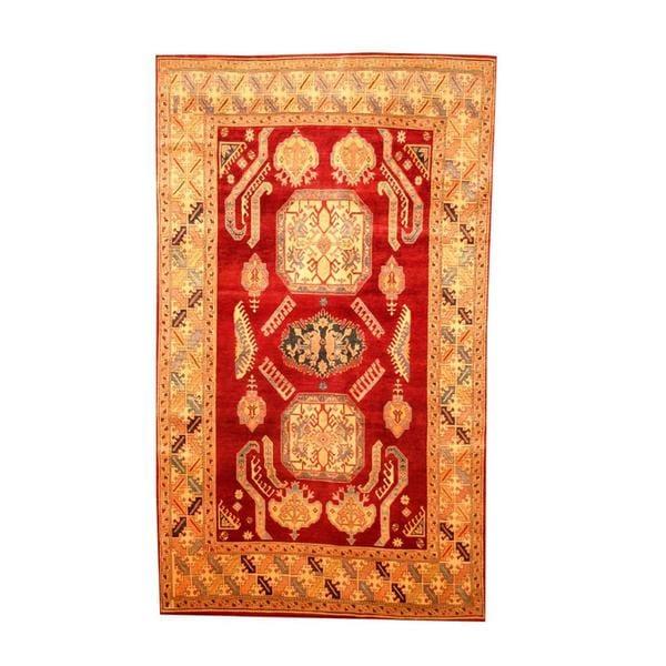 Herat Oriental Afghan Hand-knotted Tribal Kazak Maroon/ Tan Wool Rug (6'1 x 10'5) - 6'1 x 10'5